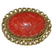 Stunning Vintage Chinese Cinnabar Asian Carved Filigree Brooch Pin