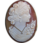 SALE Vintage  18 Karat Gold Large Carved Shell Cameo w/ Diamond Brooch & Pendant