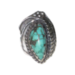 Vintage Signed Squash Blossom & Turquoise Native American Ring
