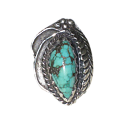 SALE Vintage Signed Squash Blossom & Turquoise Native American Ring