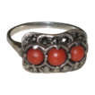 Vintage Art Deco 835 English Silver, Natural Coral & Marcasite Ring size 10 1/4