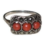 SALE Vintage Art Deco 835 English Silver, Natural Coral & Marcasite Ring size 10 1/4