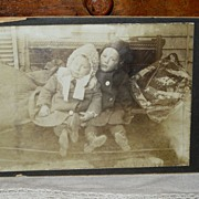 SALE Vintage Cabinet Photograph Twins Children Boy & Girl in Winter Coats, Crazy Quilt