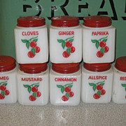 SALE Vintage Fire King Cherry Cherries Design 8 Spice Jar Set  Red Lids