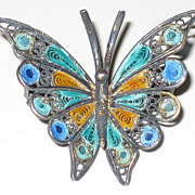 SALE Vintage 800 Silver Filigree & Enamel Butterfly Pin Brooch