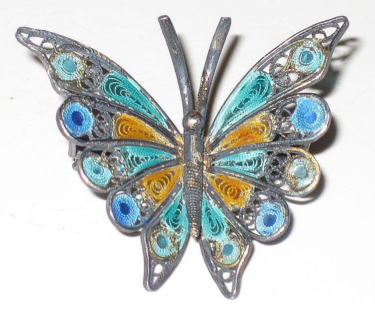 Vintage 800 Silver Filigree & Enamel Butterfly Pin Brooch
