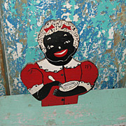 SALE Mammy Aunt Jemima Vintage Wooden Towel Holder Figural Top
