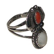 SALE Vintage signed Sam Tully Native American Coral & Mother of Pearl Ring