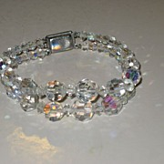 SALE Vintage Austrian Crystal Glass 2 strand  Bracelet with Fancy Rhinestone Clasp