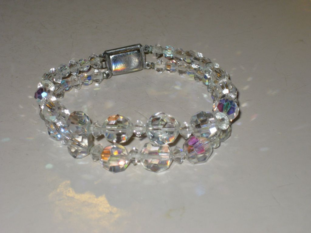Vintage Austrian Crystal Glass 2 strand  Bracelet with Fancy Rhinestone Clasp
