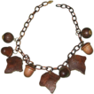 Vintage Carved Wood Leaf & Acorn Celluloid Link Necklace