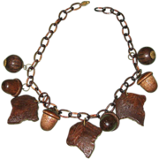 SALE Vintage Carved Wood Leaf & Acorn Celluloid Link Necklace