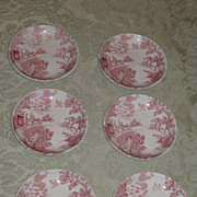 SALE Set of 6 Vintage Ridgway Staffordshire &quot;Coaching Days&quot;  Red Transferware Butter