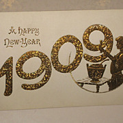 New Year A Happy 1909 Postcard Old Vintage Card