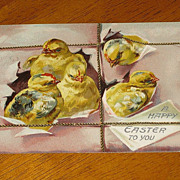 REDUCED Tuck's  Antique Easter Postcard Baby Chicks  & Wrapping Paper Series No 100