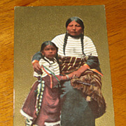 SALE Antique Postcard Native American Mother and Child 1909 Postmark Walker IA