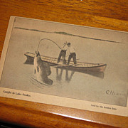 SALE Circa 1909 Lake Osakis Minnesota Postcard Fishermen catching Huge Fish, signed G. Newman
