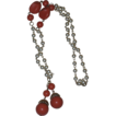 Gorgeous Vintage Coral Bead and Faux Pearl Bead Tassel Necklace