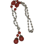SALE Gorgeous Vintage Coral Bead and Faux Pearl Bead Tassel Necklace