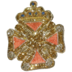 Vintage Maltese Cross with Crown Hand Stitched Gold Thread Emblem Pin Brooch