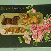 SALE Antique Postcard &quot;New Years Greetings&quot; Playful Dogs, Terriers Germany