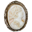 Antique Lady Cameo Angel Skin Coral,  High relief with Filigree Frame.