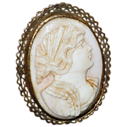 SALE Antique Lady Cameo Angel Skin Coral,  High relief with Filigree Frame.