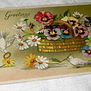 SALE Antique Postcard Love's Greetings Doves Pansies Germany