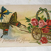 "REDUCED Antique German Postcard  1909  ""Good Fortune""  Horse Shoe & Butterflies"