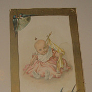SALE Lion Coffee Trade Card, Maud Humphrey, Baby Girl with Birds