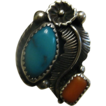 Beautiful Vintage Turquoise & Coral Sterling Silver Squash Blossom Ring