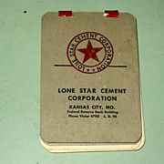 REDUCED Vintage 1940's Lone Star Cement Corporation Kansas City MO Mini Note Pad
