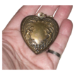 Large Vintage Brass Embossed  Heart Charm / Pendant  with  Genies