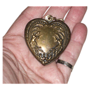 SALE Large Vintage Brass Embossed  Heart Charm / Pendant  with  Genies