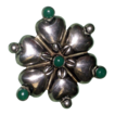 Vintage Jade and Sterling Silver Flower Brooch Pin Mexico