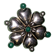 REDUCED Vintage Jade and Sterling Silver Flower Brooch Pin Mexico