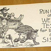 "SALE Vintage 1940's ""Run Out of Texas"" Cartoon Cowboy Postcard signed Rhea J Vernon"