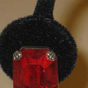 SALE Vintage Red Faceted Emerald Cut Paste Screw Back Earrings.