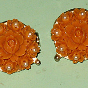 SALE 2 Faux Coral & Faux Pearl Rose Flower Scatter Pins