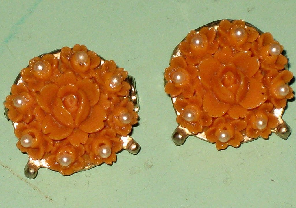 2 Faux Coral & Faux Pearl Rose Flower Scatter Pins