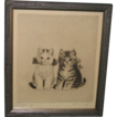 "Vintage Framed Lithograph Print Artist Signed ""Playthings"" Sweet Kittens"