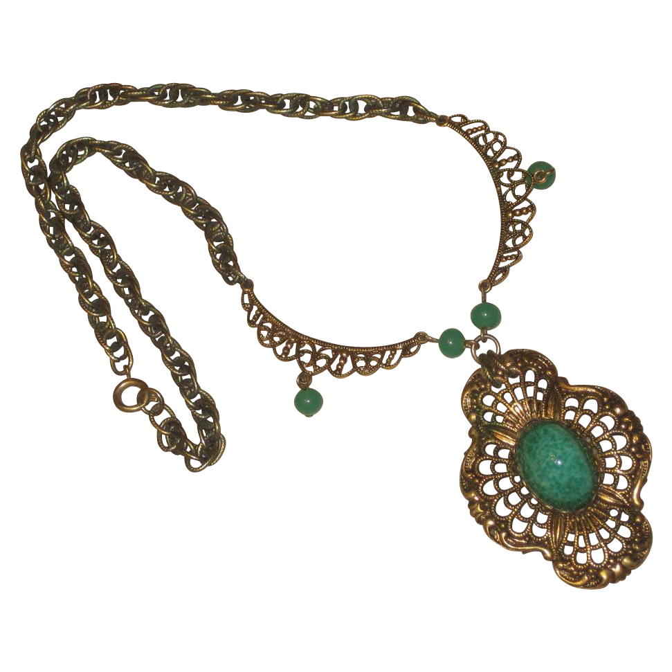 Vintage Peking Glass Filigree Necklace