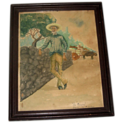SALE 1939 Charming Vintage Watercolor Painting &quot;Tio Marcelino&quot; Mexican Man