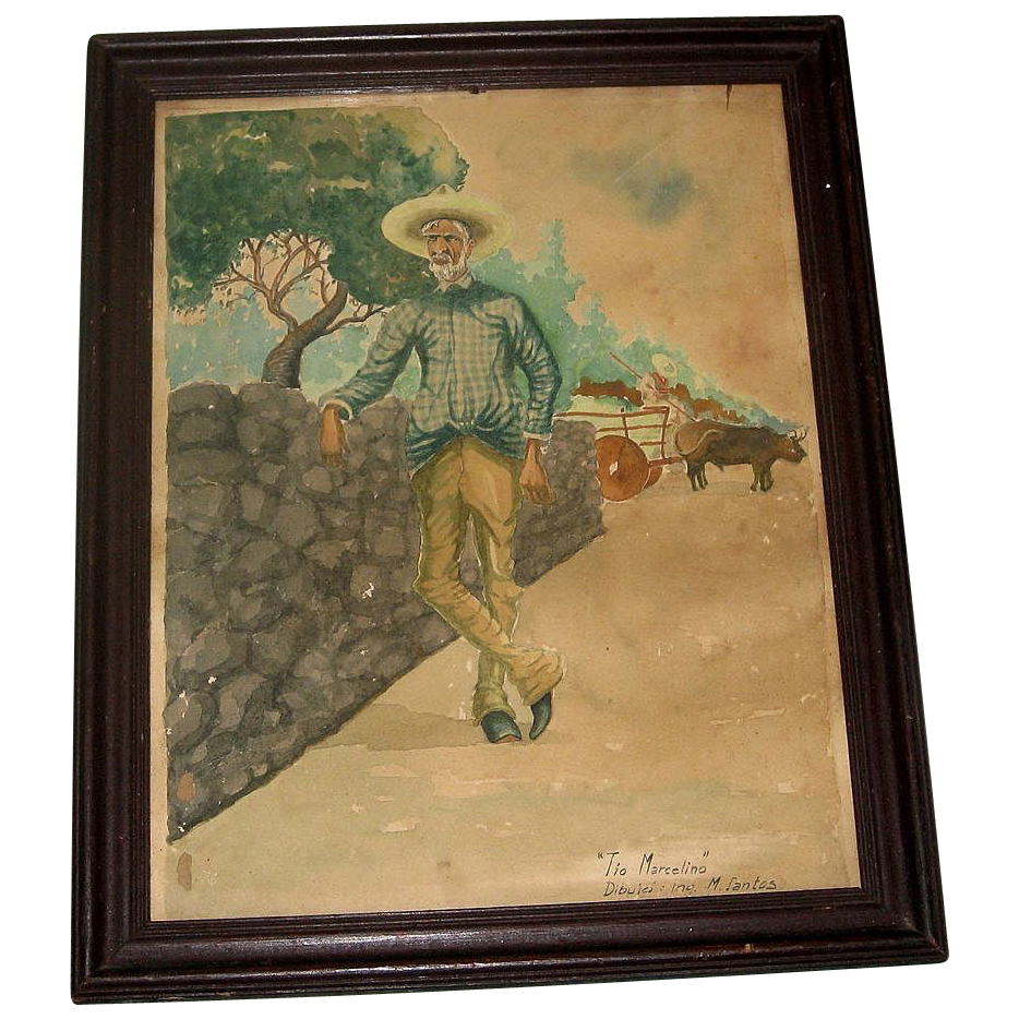"1939 Charming Vintage Watercolor Painting ""Tio Marcelino"" Mexican Man"