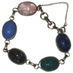 Vintage Signed CORO Multi Colored  Glass Scarab Bracelet