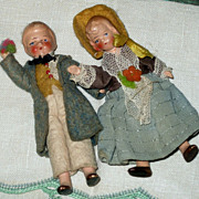SALE Pair of Vintage Bisque & Composition Miniature Dolls 1930's Germany