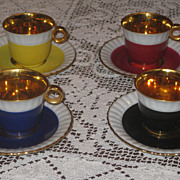 SALE Set of  3  Vintage Limoges Demitasse Cups & Saucers  with Gold Gilt Trim