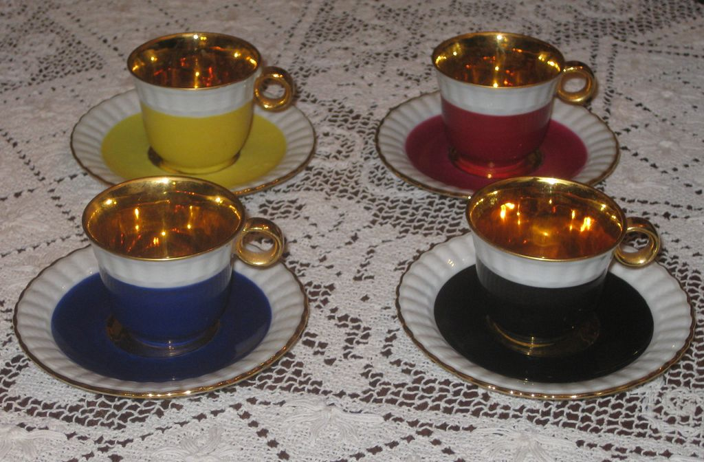 Set of  3  Vintage Limoges Demitasse Cups & Saucers  with Gold Gilt Trim