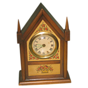 SALE Charming Vintage Small Wooden Steeple Style Mantle Clock Germany