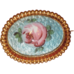 Vintage  Guilloche Enamel Pink Rose Goldtone  Brooch Pin